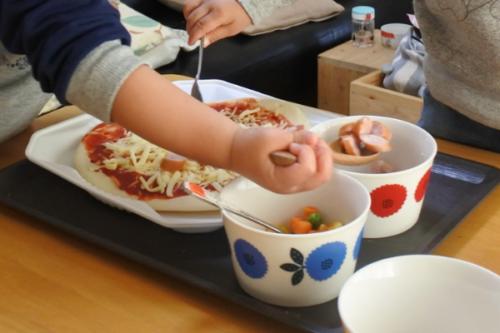 3歳の誕生日でピザパーティー